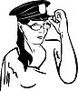 girl trying on glasses in police cap