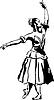 sketch of girl`s ballerina standing in pose