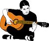 Девушка играет на акустической гитаре