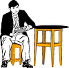 A guy sitting on stool at table   Stock Vector Graphics