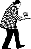 Человек в пальто несет три бокала с вином