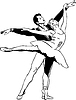 Vector clipart: sketch of ballet pair in dancing pose