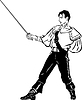 Vector clipart: fencer with sword in bar of defence