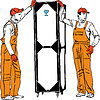 Vector clipart: two longshoremen in orange combinations hold box