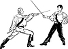 Vector clipart: sketch of steam of fencers battle on duel