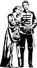 Векторный клипарт: Эскиз королевы-матери объятия сына принца