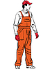 Vector clipart: sketch worker is dressed in orange combination