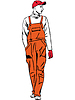 Vector clipart: worker is dressed in orange combination