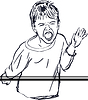 Vector clipart: sketch capricious boy yells loudly