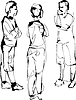 Sketch company of three fellows speak | Stock Vector Graphics