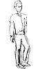 Sketch of standing fellow full length | Stock Vector Graphics