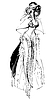 Vector clipart: girl with veil in long beautiful dress