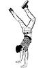 Vector clipart: young man standing on ead over heels