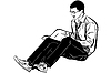 Vector clipart: guy with glasses sitting and reading book