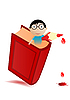 Vector clipart: red book and boy