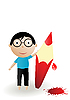 Vector clipart: boy and red pencil with blood drops