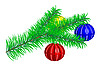 Vector clipart: fur-tree branch with Christmas balls