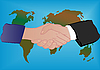 Photo 300 DPI: world map and hand shake