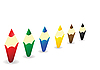 Coloured wooden pencils in row | Stock Illustration