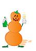 万圣节南瓜雪人饮酒 | 光栅插图