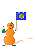 Halloween pumpkin as snowman with flag and bottle | Stock Illustration