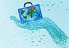 ID 3054818 | Koffer mit Weltkarte in einer Hand | Illustration mit hoher Auflösung | CLIPARTO