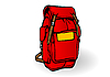 Vector clipart: a red tourist backpack