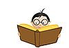 Vector clipart: Schoolboy Reading Book