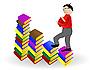 Vector clipart: boy going under books