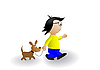 Vector clipart: Little boy with dog