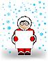 Векторный клипарт: мальчик в в новогодней одежде держит лист бумаги