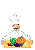 Vector clipart:  cheerful cook holds tray with vege