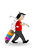 Vector clipart: player of golf with sticks