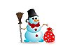 Vector clipart: Snowman with red bow