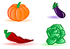 Vector clipart: cabbage, eggplant, pumpkin and pepper