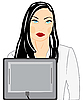 Vector clipart: young nice girl in front of computer