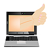 Vector clipart: Computer and hand with gesture