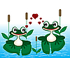 Vector clipart: Two frogs on marsh
