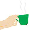 Vector clipart: Hand with cup of the hot drink
