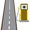 Vector clipart: fuel filling column on road