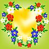 Vector clipart: heart of encirclement flowers
