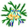 Векторный клипарт: рождественские веточки с колокольчиками