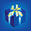 Vector clipart: Gift box with blue bow