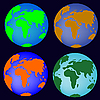 Vector clipart: simplified earth globes