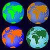 Simplificación de los globos de la tierra | Ilustración vectorial