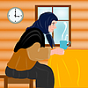 Vector clipart: grandmother and mug of hot tea