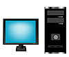 Vector clipart: Monitor and computer