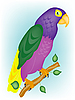 Vector clipart: Varicoloured parrot on branch