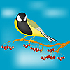 Vector clipart: Small bird on branch with berries