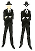 Vector clipart: Man and skeleton in suit and tie